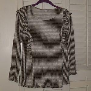 EUC Long Sleeve Striped Shirt with Ruffles